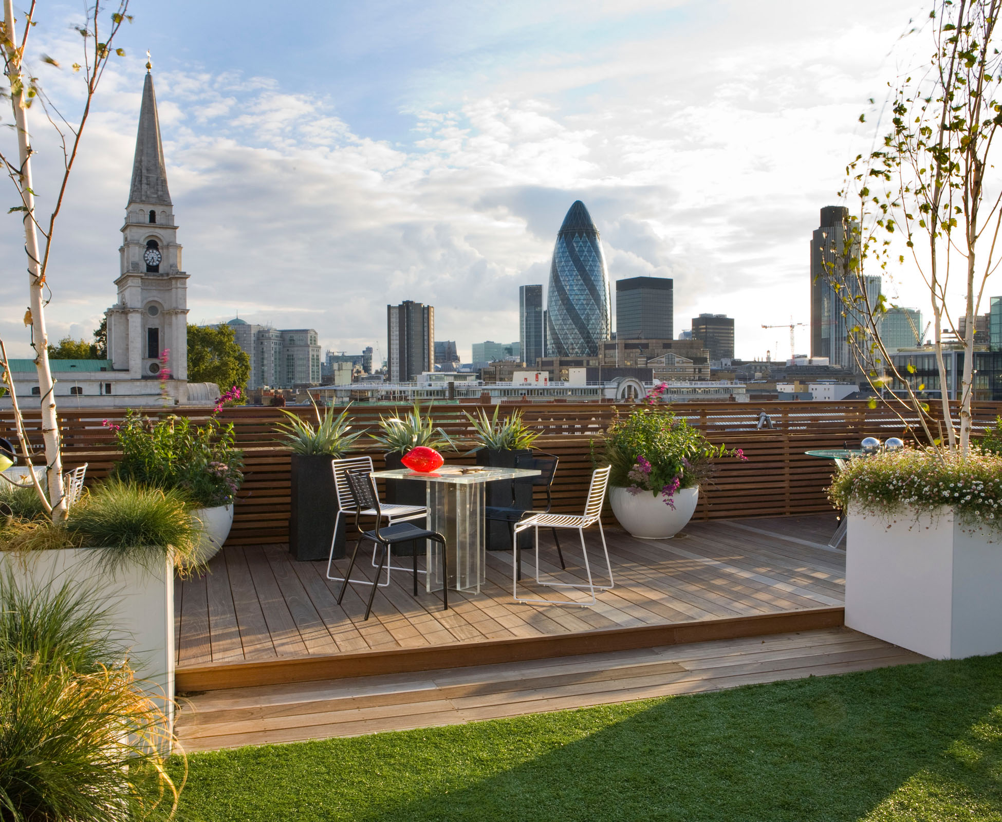 View of London's skyline and famous city landmarks from this rooftop terrace in the heart of Shoreditch.