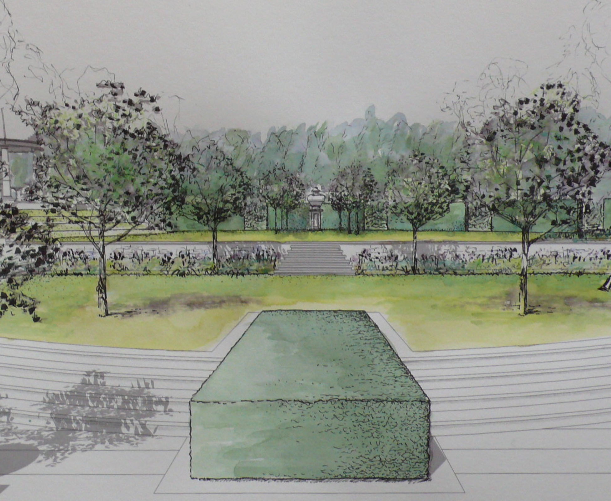 One of London Garden Designer original design sketches, hand drawing, to explain the concept to the client of this country garden.