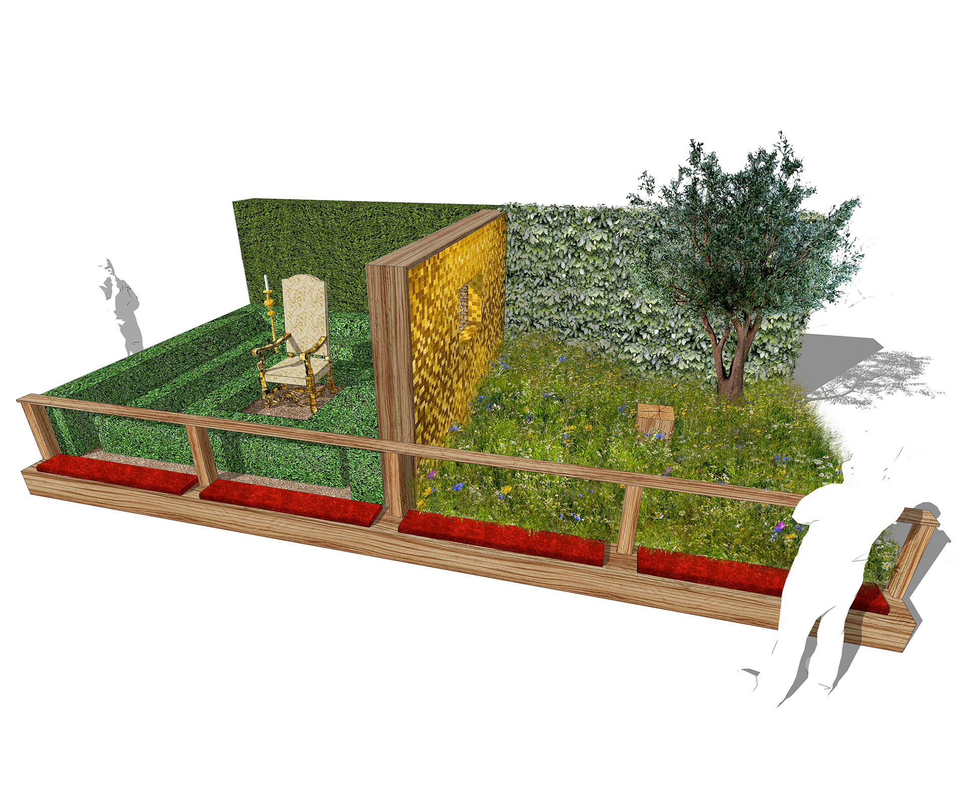 This conceptual garden designed on the theme of the seven deadly sins, expresses Greed at Hampton Court Palace Show Garden. Original concept and sketch design presented to the RHS in the early stages.
